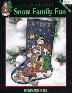 Snow Family Fun Christmas Stocking from Dimensions Cross Stitch leaflet by Todd Trainer by on Etsy Christmas Stocking Images, Cross Stitch Christmas Stockings, Cross Stitch Stocking, Christmas Stocking Pattern, Christmas Cross, Christmas Fun, Cross Stitching, Cross Stitch Embroidery, Cross Stitch Patterns