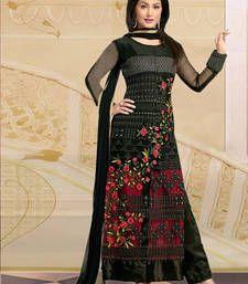 Buy Black embroidered Georgette semi stitched salwar with dupatta party-wear-salwar-kameez online