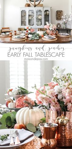 Great upscale update to fall tablescape ideas: pumpkins, peaches, and blush hydrangeas with copper accents make a gorgeous non-traditional early fall table Fall Table, Thanksgiving Table, Thanksgiving Decorations, Seasonal Decor, Table Decorations, Christmas Tables, Holiday Tables, Fall Home Decor, Autumn Home