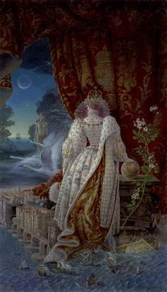 """kinuko y craft """"elizabeth"""". An unusual fantasy view of the Virgin Queen. We look past the Queen to see what she is looking at."""