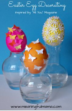 Decorate some Easter Eggs with dye and paper - so pretty! from Meaningful Mama #easter #crafts #kids #eggs