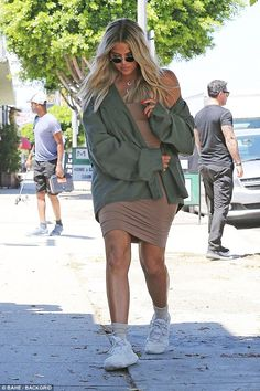 Hot mama: She swathed her fabulous post-baby body in an olive green jacket that cut just below her trim waistline Khloe Kardashian Outfits, Koko Kardashian, Kardashian Jenner, Kim Kardshian, Green Jacket Outfit, Girls Run The World, Indian Bollywood Actress, Baby Body, Celebrity Style
