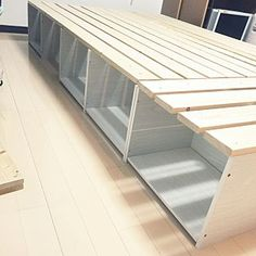 ベッドDIYのインテリア実例 | RoomClip (ルームクリップ) Bedroom/カラーボックス/ホワイト/1×4/セミダブルベッド/ベッドDIY
