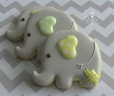One Dozen (12) Baby Elephant Decorated Sugar Cookies on Etsy, $36.00