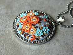 Orange and Blue Floral Polymer Clay Applique Pendant Necklace