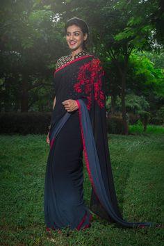 #soucika #saree #casual #indianfashion #sareeblouse #southindian #embroideredsaree #bangalore #designersaree #doubleshade Saree Blouse Patterns, Saree Blouse Designs, Indian Beauty Saree, Indian Sarees, Indian Wedding Outfits, Indian Outfits, Plain Saree, Stylish Sarees, Elegant Saree