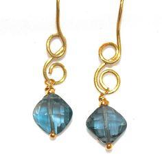 London Blue Topaz Earrings Minimalist Jewelry Gold by FizzCandy, $58.00