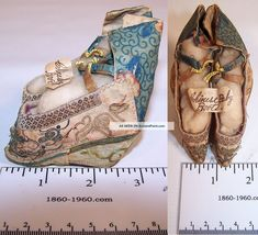 """Antique Chinese Silk Embroidered Golden Lily Bound Foot Lotus Slipper Shoes 3"""" Robes & Textiles photo"""