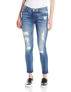 Distressed skinny jean with cropped hem featuring classic five-pocket styling and contrast stitching 9.7-ounce stretch denim 10.25-inch leg opening, 8.5-inch front rise, and 28-inch inseam