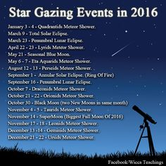wiccateachings:    Here are some star gazing events to look forwards to in 2016.