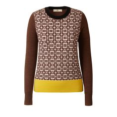 Orla Kiely Flower Check Jacquard Sweater  Flower check jacquard front circle neck sweater. Contrast black or brown sleeves and back. Contrast pink neck rib and olive green rib waistband or contrast black neck rib and mustard yellow rib waistband.