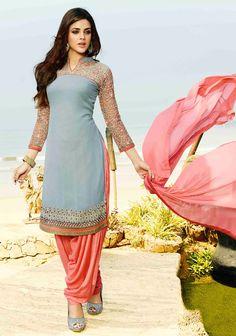 USD 35.77 Gray Georgette Punjabi Suit 48031