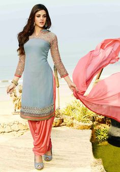 Gray Georgette Punjabi Suit