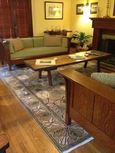 Our Magnolia carpet, shown here with two mission-style oak settles from Voorhees Craftsman in Pasadena.