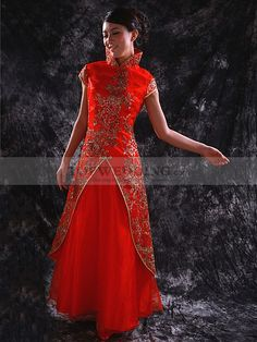 Gold Sequined and Embroidered Satin over Tulle Princess Cheongsam in Red