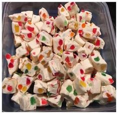 Ingredients : Nougat: 2 tbsp Butter 2 bags Mini Marshmallows per bag) 2 bags White Chocolate Chips per bag) 2 cups Gumdrops Directions : Melt first 3 ingredients together until smooth. Spread on parchment paper lined pan. Candy Recipes, Holiday Recipes, Cookie Recipes, Dessert Recipes, Christmas Recipes, Holiday Foods, Christmas Desserts, Holiday Ideas, Christmas Candy
