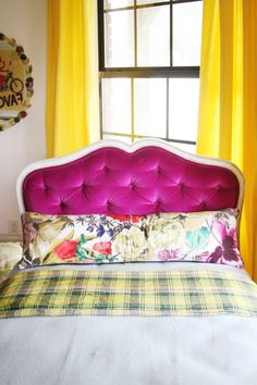 When making a tufted headboard, use screws to hold down the tufts. Then glue buttons over the screw heads.