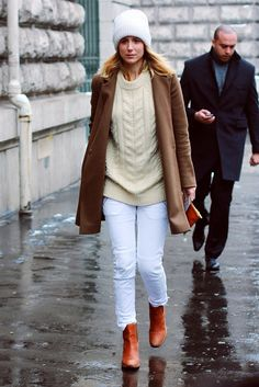 White jeans + cream sweater + brown booties + camel coat for fall / winter
