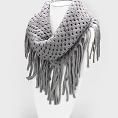 c1fd47238f12 Lattice Knit Infinity Scarf    Ashen Foulard, Écharpes De Mode, Tenues À La