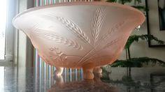 UPDATED LISTING Art Deco Walther Buckeberg Frosted Pink Glass Deep Float Bowl for Lucretria by VintageDecoUK on Etsy