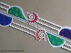 Easy and quick peacock border rangoli design | Rangoli by Poonam Borkar - YouTube