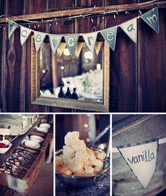 Doing this at my wedding :) - ice cream sundae bar Wedding Trends, Wedding Blog, Our Wedding, Wedding Ideas, Wedding Crafts, Barn Wedding Venue, Rustic Wedding, Ice Cream Buffet, Sundae Bar