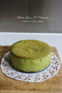 ♥ Matcha Green Tea Cheesecake ♥For crust: 1 cup almond biscuit crumbs 4 tbsp melted butter 3 tbsp granulated sugar  For cheesecake: 2 8oz packages cream cheese, room temperature 3/4 cup granulated sugar 2 tbsp all purpose flour 4 tbsp matcha powder 1/3 cup sour cream, room temperature 1 tsp vanilla extract 1 large egg, room temperature