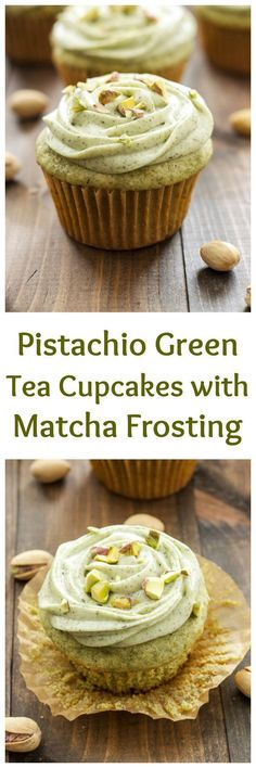 Pistachio Green Tea Cupcakes with Matcha Cream Cheese Frosting | Green tea is the perfect substitute for boxed pistachio pudding in these delicious cupcakes! Find more stuff: www.victoriasbestmatchatea.com