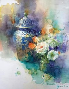 Memory of Mexico - watercolour painting by Yuko Nagayama Watercolor Artists, Watercolor Landscape, Watercolor And Ink, Watercolour Painting, Watercolor Flowers, Painting & Drawing, Watercolours, Watercolor Portraits, Art Floral
