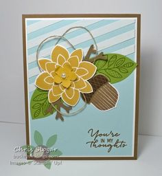 Texture with Modeling Paste, Stampin' Up! Acorny Thank You, Crazy About You, Lighthearted Leaves, Watercolor Wishes