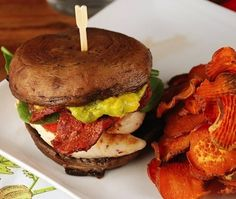 Portobello Mushroom Sandwich Stack With Bacon, Chicken and Guacamole | 15 No-Bread Sandwiches
