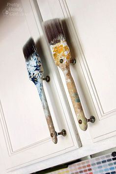 unique cupboard door handles | ... more from Old Paintbrush Cabinet Door Handles at Pretty Handy Girl