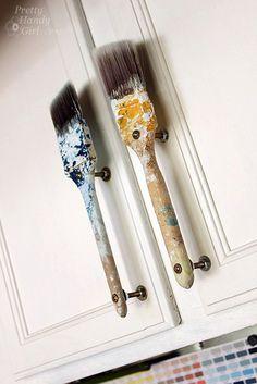 unique cupboard door handles | ... more from Old Paintbrush Cabinet Door Handles at Pretty Handy Girl