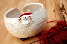 White Fluffy Sheep Shaped Ceramic Yarn Bowl by PotsWithPersonality, $42.00