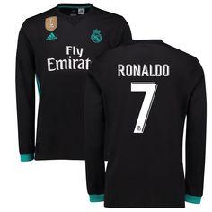 Ronaldo Real Madrid adidas 2017/18 Away Replica Patch Long Sleeve Jersey - Black