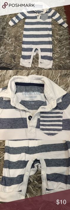 Baby striped collared one piece romper Adorable navy and white striped one piece with collar and striped chest pocket. Button up around the neck like a polo and snaps at the crotch. No footies. EUC. No stains Osh Kosh One Pieces Bodysuits