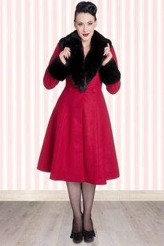 Bunny - 50s Shonna Swing Coat in Burgundy