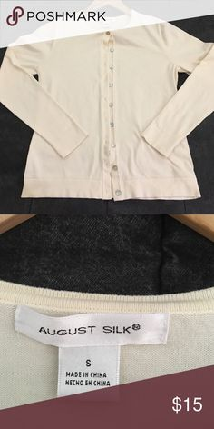 August silk cream colored sweater This is a nice quality washable sweater with mother of pearl buttons. August Silk Sweaters Cardigans