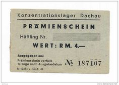 GERMANY - DEUTSCHLAND: 4 RM (1943-1944) -UNC *WORLD WAR II - NAZI - Concentration Camp DACHAU *MEGA RARE HOLOCAUST NOTE!