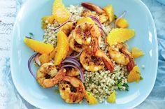 citrus prawn and cous cous salad