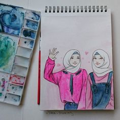 37 Ideas Drawing Sketches Pencil Simple Portraits For 2019 Best Friend Drawings, Bff Drawings, Cool Art Drawings, Pencil Art Drawings, Art Drawings Sketches, Girls Anime, Anime Art Girl, Hijab Drawing, Hijab Cartoon