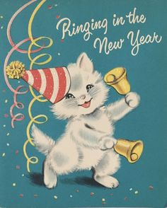 Vintage New Year Card Vintage Christmas Images, Retro Christmas, Vintage Holiday, Christmas Pictures, Christmas Art, Vintage Images, Christmas Bells, Christmas Greetings, Vintage Happy New Year