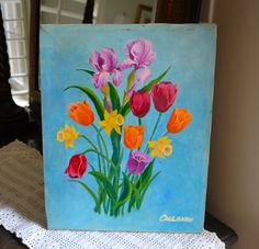 ORIGINAL OIL PAINTING Tulips Pink, Yellow Robin's Eggl Blue Background Original Artwork Spring Bouquet Canvas on Wood Shabby Unframed Signed by StudioVintage on Etsy