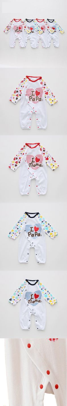 Newborn Baby Rompers I Love Papa I Love Mama Baby Girl Boy Romper Long Sleeve Meninos Meninas Jumpsuit Roupas De Bebe KF307 $6.99