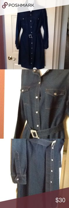Size S soft Jean dress with belt Size S button down with belt soft Iran dress in excellent condition, tag was removed because was scratchy Dresses