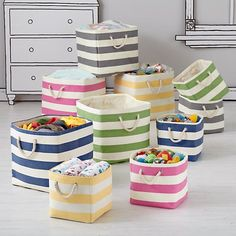 The Land of Nod | Kids Storage: Striped Cube Storage Collection in Storage Collections