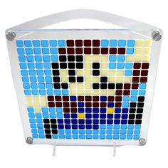 Jumping Plumber  Pixel Puzzle Art by SybariteStudio on Etsy  Everyone's favorite 8-bit video game plumber has his own Pixzle. He's jumping for joy!  It's like combining #StainGlassWindowArt with #Pixels #Minecraft #Retrogamers #Gamers # Nintendo #8Bit #FUN #Mosiac