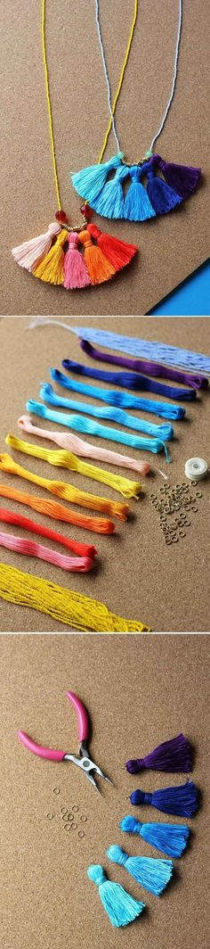 Cute and Easy DIY Jewelry Tutorial for Girls | DIY Tassel Necklace by DIY Ready at http://diyready.com/cheap-diy-jewelry-projects-for-girls/
