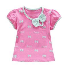 Baby Girl Summer Toddler Short Sleeve Bow Printed Pattern T-Shirts Girls Cotton Casual Tops New Summer Baby, Summer Girls, Baby Girl Fashion, Kids Fashion, Baby Girl Bows, Baby Girls, Pink Girl, Bow Shorts, Cartoon Outfits