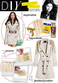 DIY Burberry Studded Trench (I would use actual metal studs instead)
